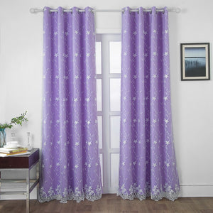 DIDIHOU 1PCS Yellow Embroidered Window Curtain