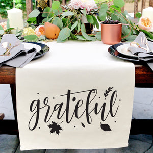 Grateful Cotton Canvas Table Runner