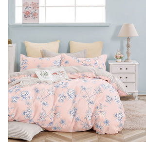 Ava Pink Floral 100% Cotton Reversible Comforter Set
