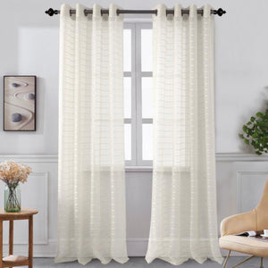 Karen - Grommet Sheer Panel - Set of Two - Assorted Colors