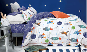 Johanas Rocket Ship Kids 100% Cotton Comforter Set