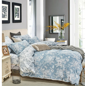 Marianna Blue Floral 100% Cotton Reversible Comforter Set
