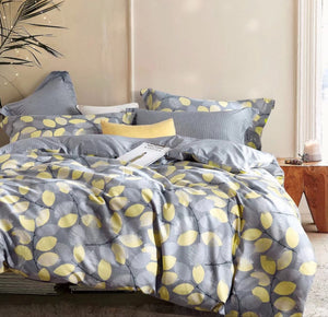 Sistes Gray/Yellow Floral 100% Cotton Reversible Comforter Set