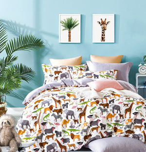 Fun Kids  Animal Prints 100% Cotton Reversible Comforter Set