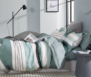 Lessen Striped 100% Cotton Reversible Comforter Set
