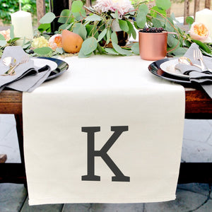 Personalized Monogram Cotton Canvas Table Runner