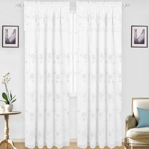 Aubrey - Snow Voile Embroidered Panel - Set of Two