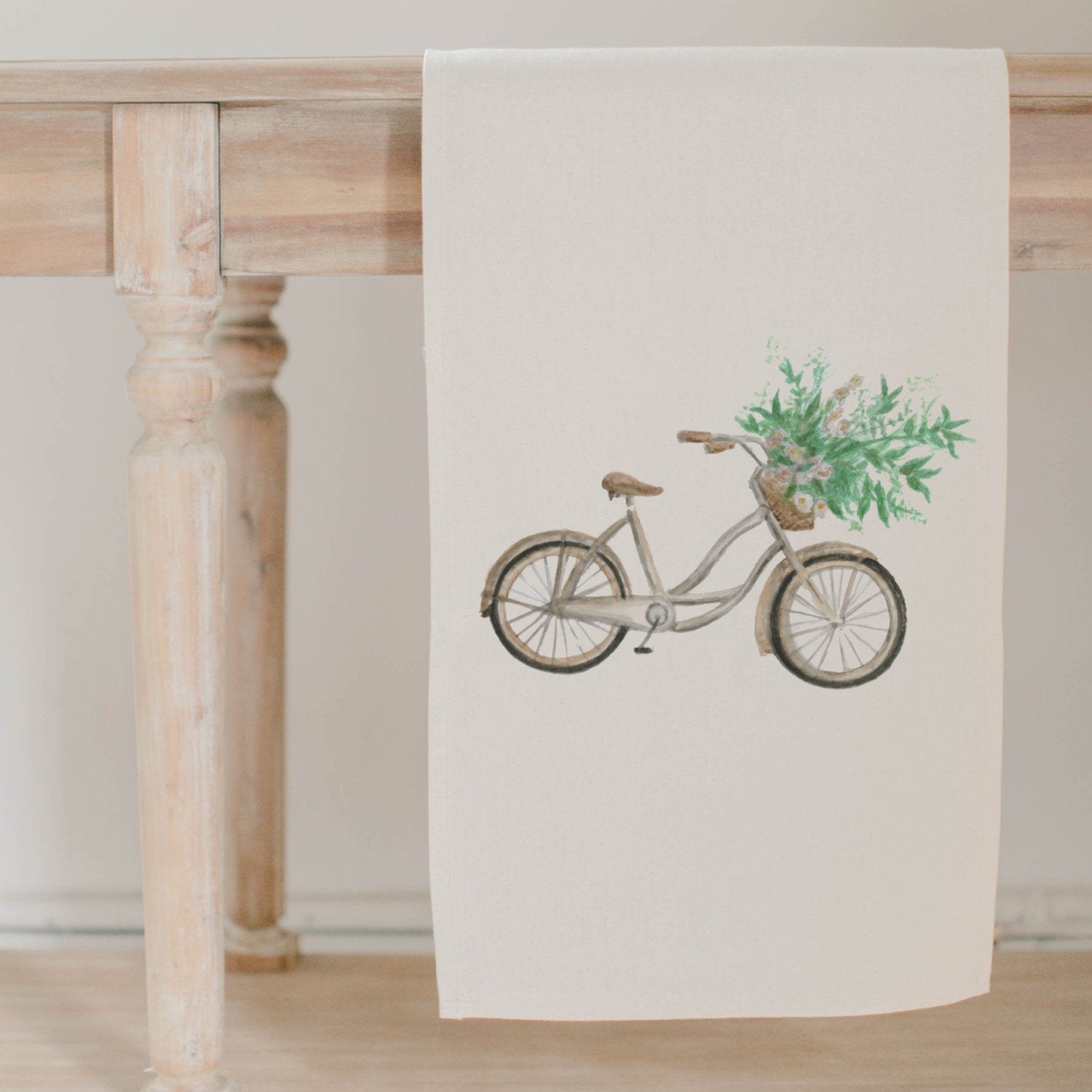 Floral Bike Watercolor Table Runner