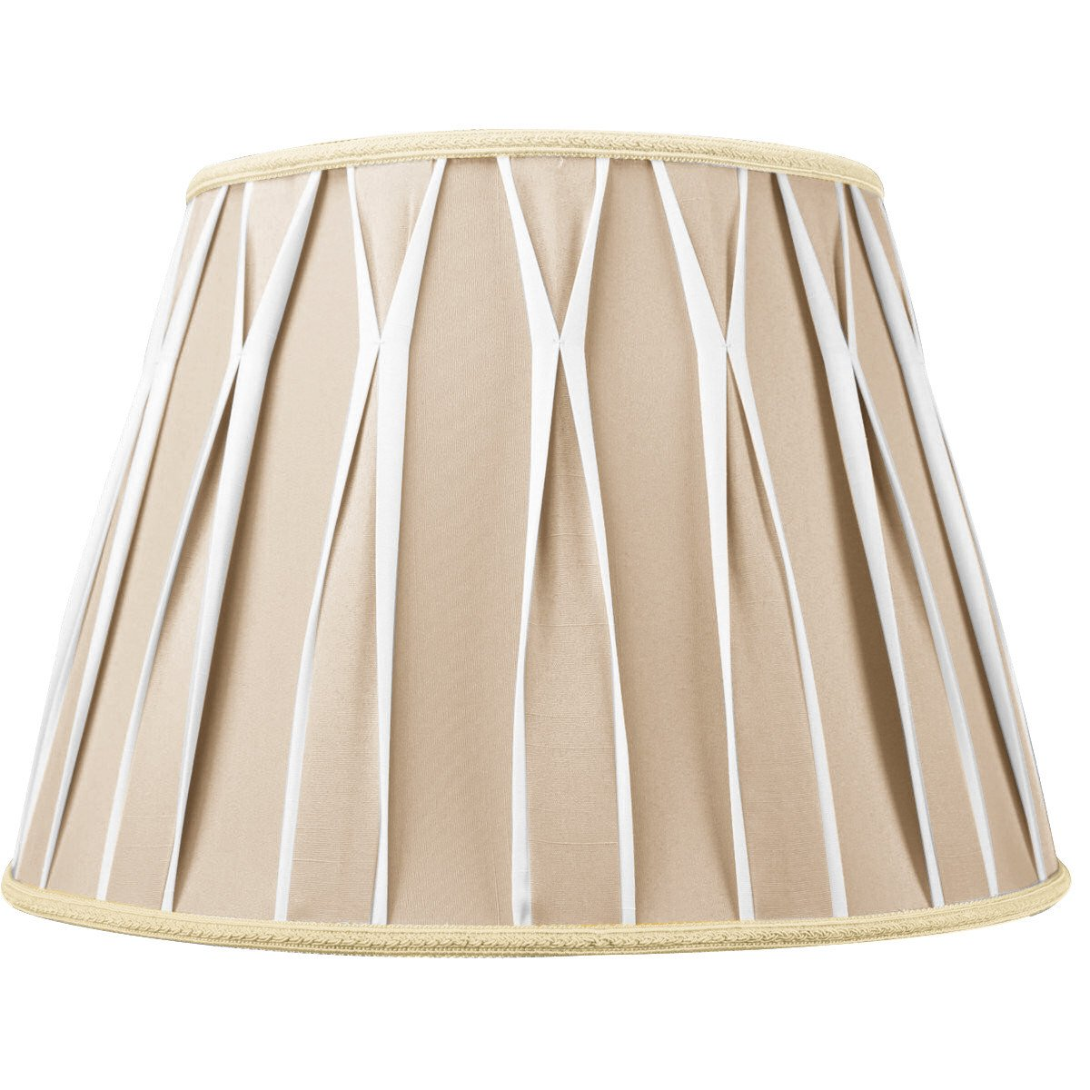 10x16x11 Beige/White Pinched Pleat Shantung Lampshade