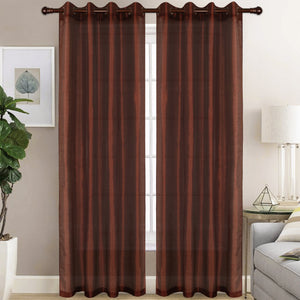 Christina - Faux Silk Semi Sheer Panel - Set of Two - Assorted Colors