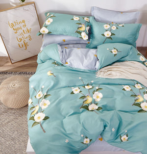 Birdsong Blue Floral 100% Cotton Duvet Cover Set