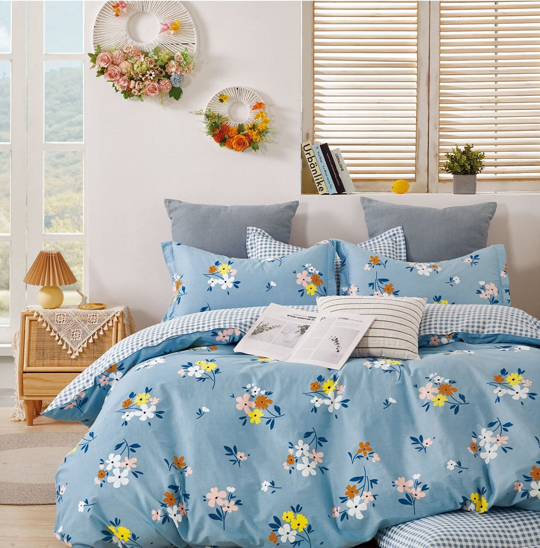 Quinn  Blue Floral 100% Cotton Comforter Set