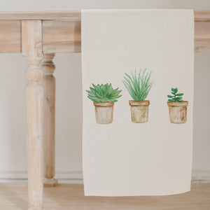 Succulent Pots Watercolor Table Runner