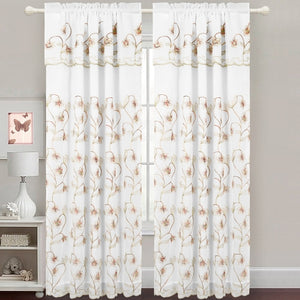 Gabriella - Snow Voile Embroidered Panel - Set of