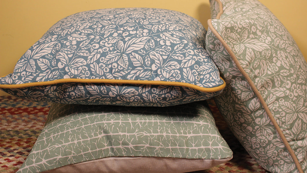 'Blueberry' Cushion, Keen Blue, double sided and piped