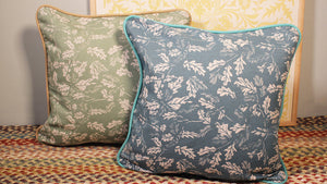 'Canopy' Cushion, Keen Blue, double sided and piped