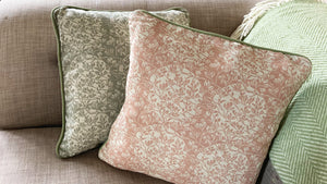 'Lighted Whitebeam' Cushion, pale blush, double sided and piped
