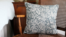 Load image into Gallery viewer, 'Peony Bee' Cushion, slate blue