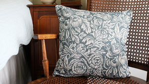 'Peony Bee' Cushion, slate blue