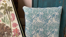 Load image into Gallery viewer, 'Camellia' Cushion, stone blue, double sided and piped