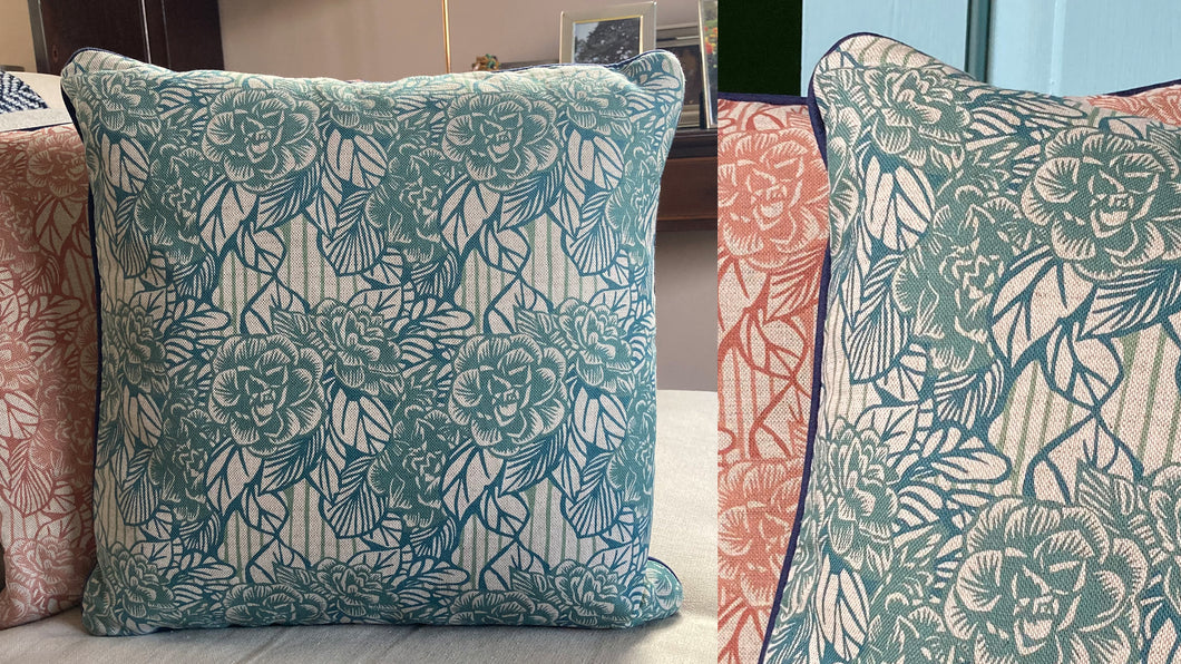 'Camellia' Cushion, stone blue, double sided and piped