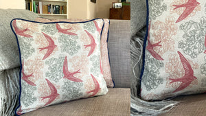 'Swift' Cushion, rose, double sided and piped