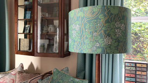 'Waterlily' Drum Shade in viridian