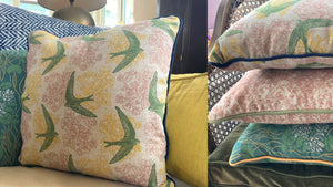 'Swift' Cushion, Henry green, double sided and piped