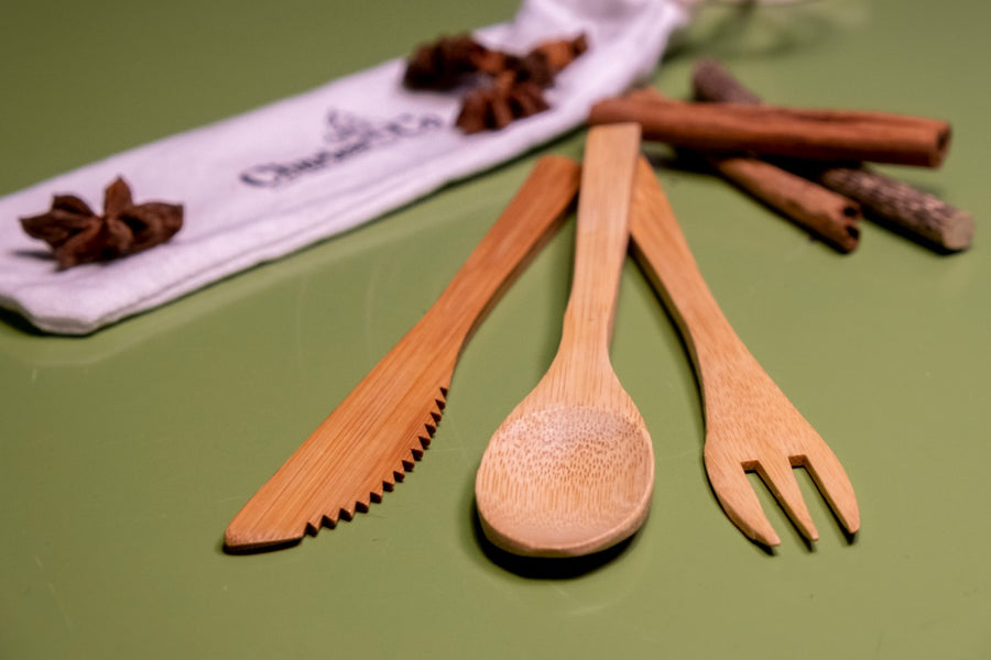 by Charles & Co Reusable Bamboo Cutlery Set