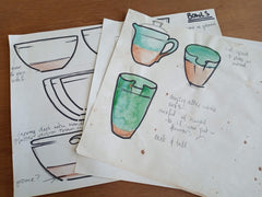Design drawings for blue pottery