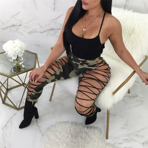New Sexy Hollow Out Bandage Camouflage Pant Women Bodycon Club Party Lace Up Pants Pencil High Waist Pants Female