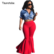 Load image into Gallery viewer, Plus Size Fashion Ruffle Flare Pants Wide Leg Women Colorful Bodycon Mid Waist Bell-Bottoms Pant Vintage Solid Trouser