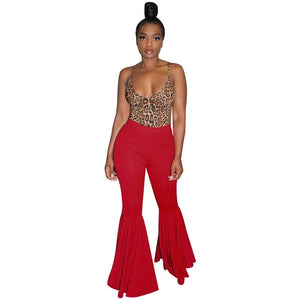 Plus Size Fashion Ruffle Flare Pants Wide Leg Women Colorful Bodycon Mid Waist Bell-Bottoms Pant Vintage Solid Trouser