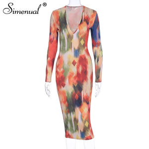 V Neck Sexy Fashion 2020 Print Women Dresses Long Sleeve Party Club wear Skinny Hot Pencil Dress