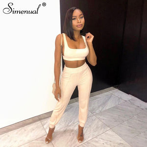 Ribbed Basic Workout Sportswear Matching Set Women Fashion Casual Solid Two Piece Outfits Sleeveless Top And Pants Sets