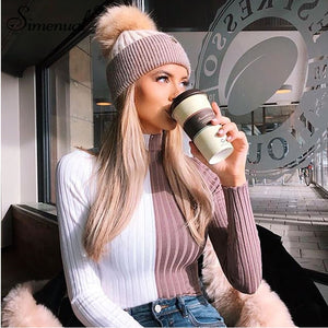 Patchwork women's turtleneck sweaters and pullovers autumn knitting clothes skinny sexy cropped lady's sweater hot sale