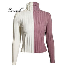 Load image into Gallery viewer, Patchwork women's turtleneck sweaters and pullovers autumn knitting clothes skinny sexy cropped lady's sweater hot sale