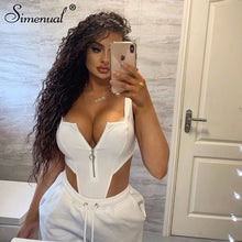 Load image into Gallery viewer, Zipper Sexy Hot Women Bodysuits Sleeveless Fashion 2020 Summer Solid Club wear Square Collar Bodysuit Basic Slim