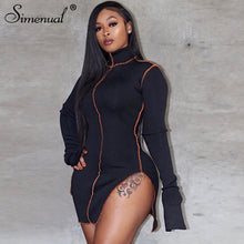 Load image into Gallery viewer, Side Slit Patchwork Women Casual Dresses Long Sleeve Athleisure Fashion 2020 Bodycon Mini Dress Slim Sporty Clothing