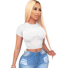 Load image into Gallery viewer, Women Ribbed Tops Short Sleeve Skinny Ribbed Crop Top High Elasticity Ribbed Teeshirt Raised Lines Pattern Tops