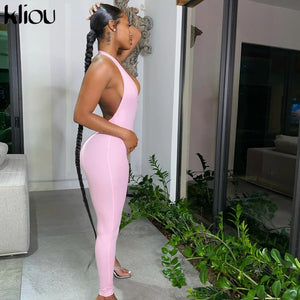 Women active wear v-neck sexy bandage sleeveless jumpsuit skinny rompers solid elastic fitness casual outfit