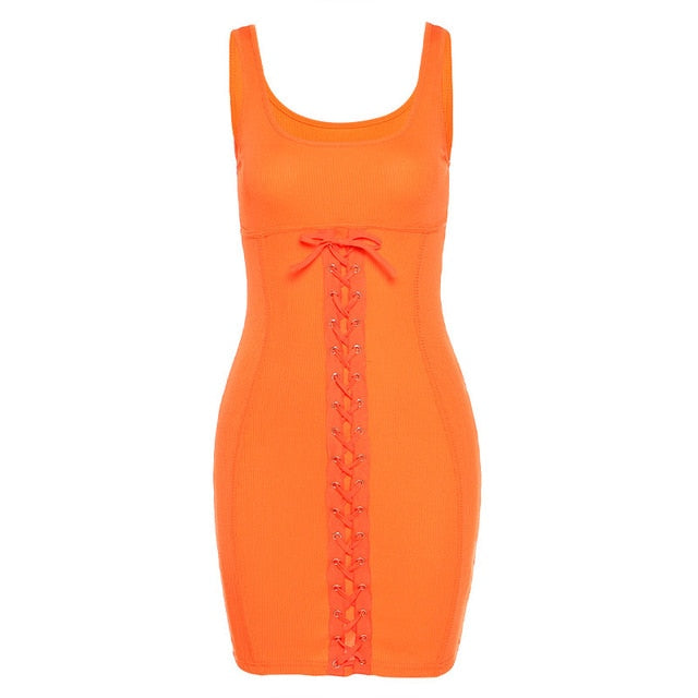 Solid Lace Up Ribbed Mini Dresses Women Sleeveless Club wear 2020 Skinny Party Dress Sexy Hot