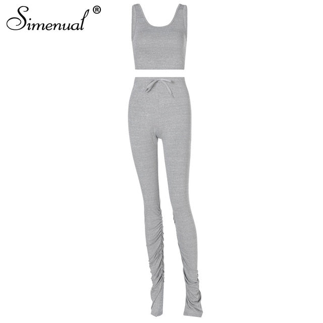 Simenual Tank Top And Stacked Pants 2 Piece Set Women Casual Sportswear Sleeveless Tracksuits Fashion Workout Grey Matching Sets