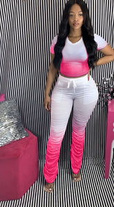 Women Tracksuits Two Pieces Set Short Sleeve Top Flared Pants 2 Pieces Set Pleated Pants Sports Suit Print Outdoor Wear