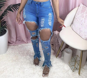 Sexy  Hollow out Flare denim Pants White Ripped jeans High Waist  Bodycon Hole Women Trousers Club Outfits 2020