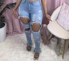 Load image into Gallery viewer, Sexy  Hollow out Flare denim Pants White Ripped jeans High Waist  Bodycon Hole Women Trousers Club Outfits 2020