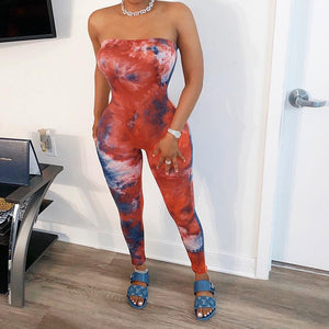 Tie Dye Print Women Jumpsuits Summer 2020 Sexy Women Clothing Club Wear One Piece Outfits Strapless Bodycon Rompers