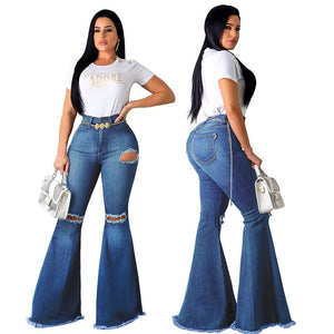 New Ripped Jeans Bell Bottom Vintage Jeans Skinny Flare Pants Women Stretchy Blue Black Sexy Jeans Women Denim Pants