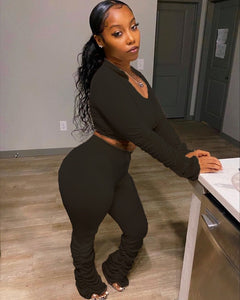 Sexy V Neck Long Sleeve 2 Piece Set Stacked leggings Pants Women blouses Ladies Tracksuit