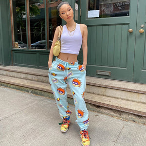 Hugcitar 2020 cartoon print high waits sweatpants autumn winter women fashion streetwear casual joggings trousers
